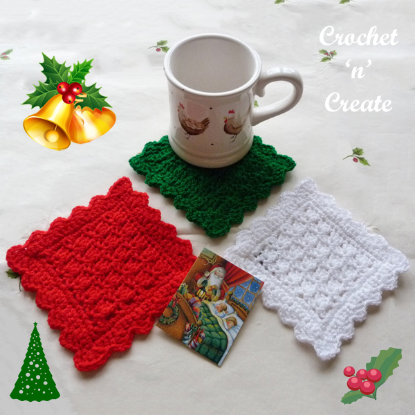 crochet christmas square coaster