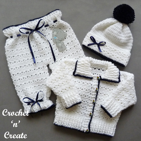crochet baby sweater set