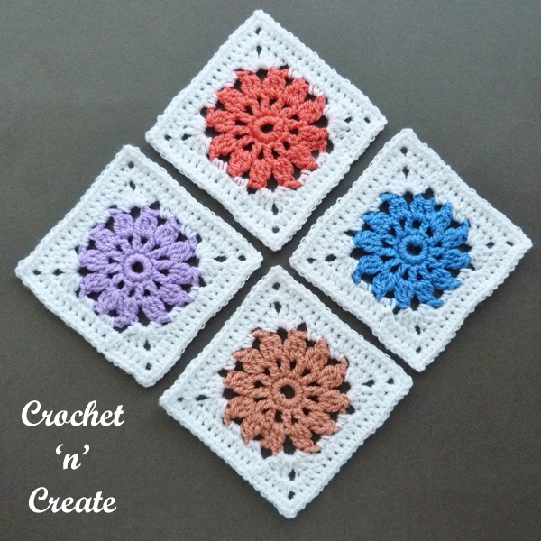 4 color burst blanket squares
