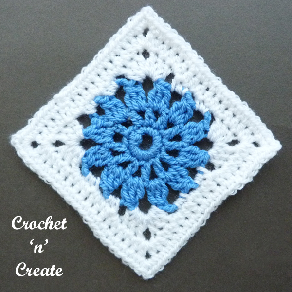 crochet blue square