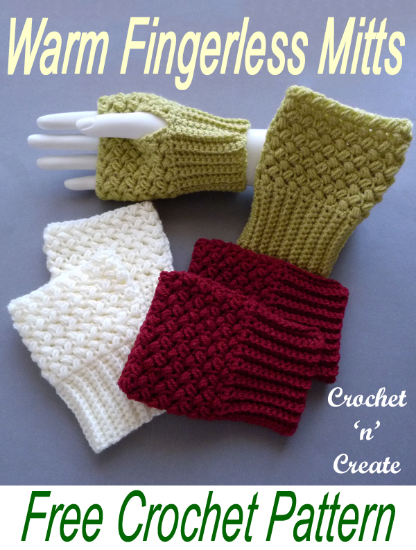 crochet warm fingerless mitts
