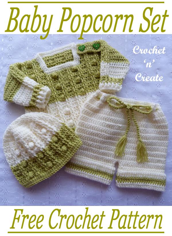 Crochet Baby Popcorn Set Free Crochet Pattern on Crochet