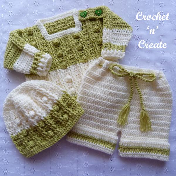 crochet baby popcorn set