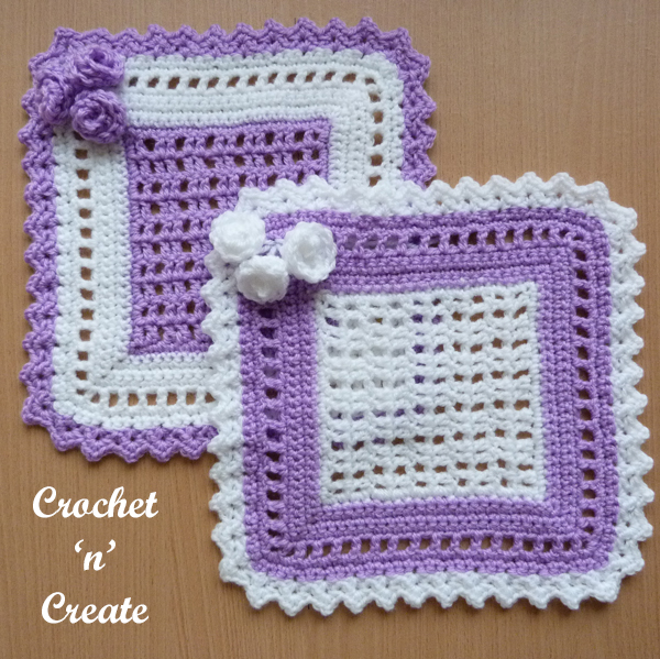 lilac and white doilies