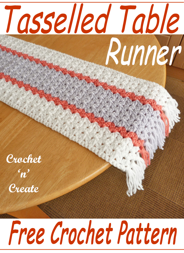 crochet tasseled table runner