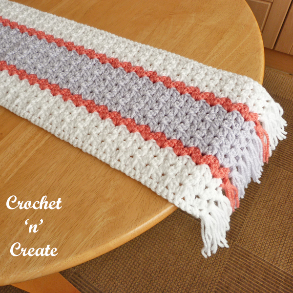 crochet tasselled table runner