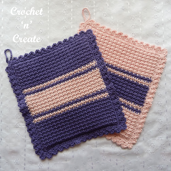 crochet moss stitch potholder