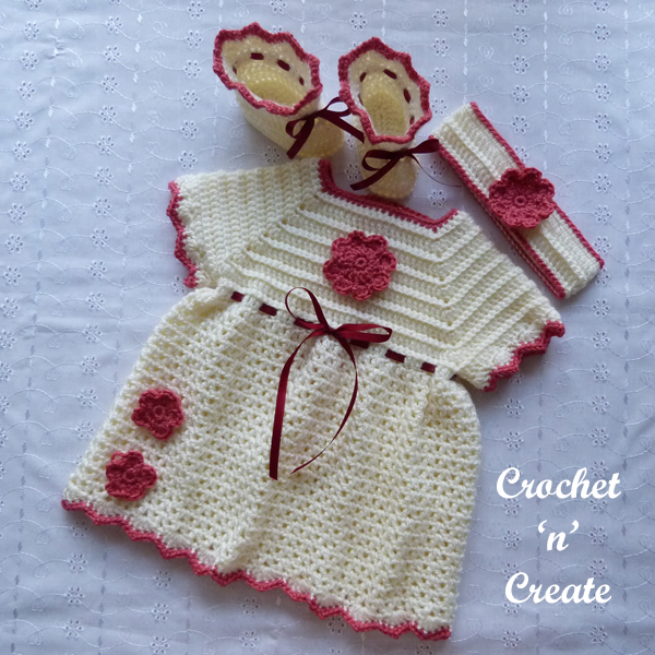 Crochet Newborn Baby Dress Set
