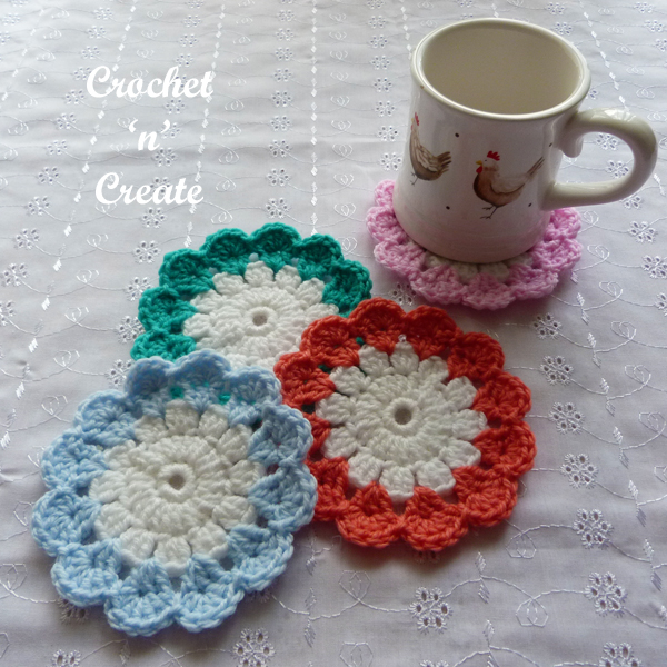 crochet spring time coaster