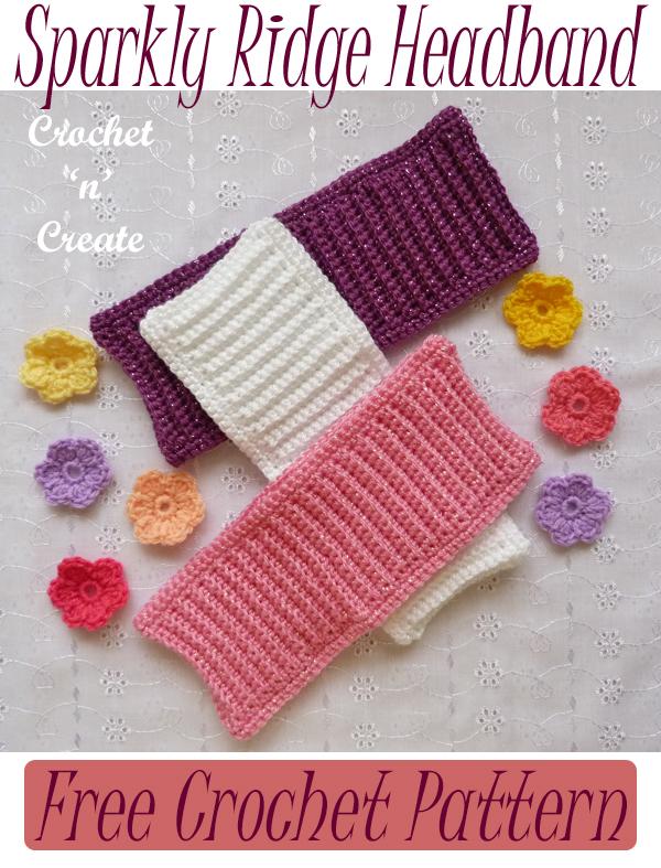 sparkly ridge crochet headband pattern