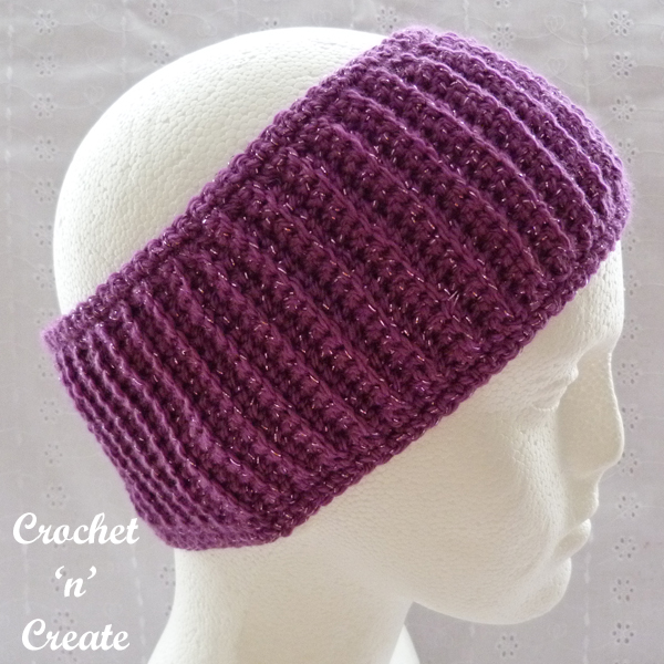 crochet headband plum