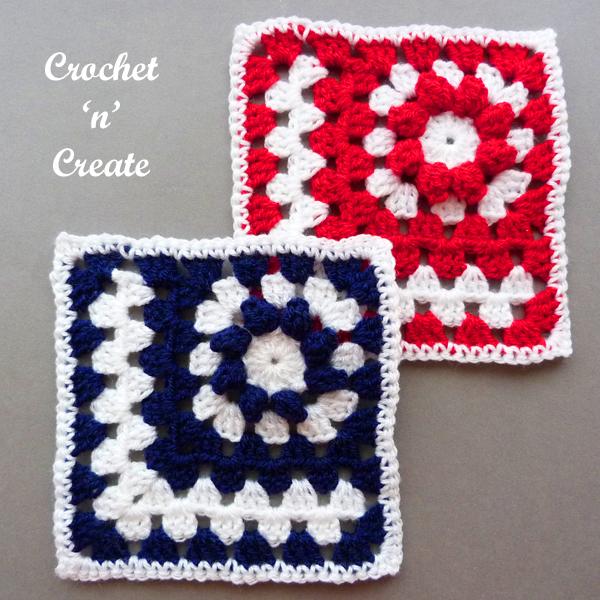 crochet mitered popcorn motif