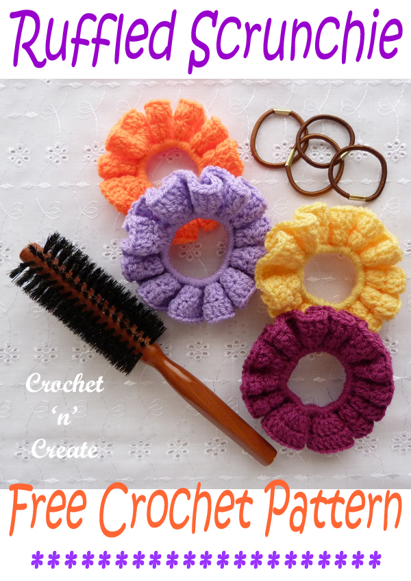 crochet ruffled scrunchie pattern