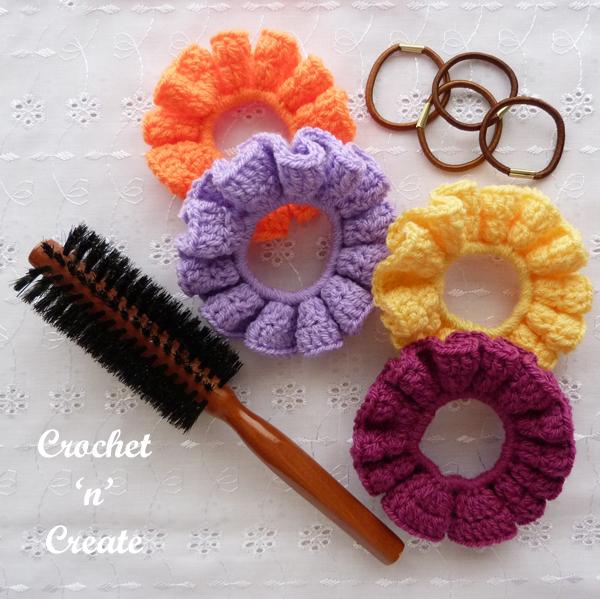 crochet ruffled scrunchie pattern