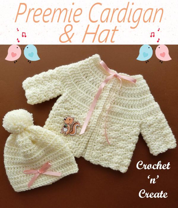 preemie cardigan & hat