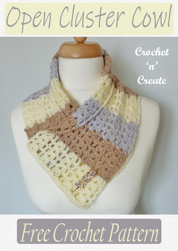 crochet open cluster cowl pattern