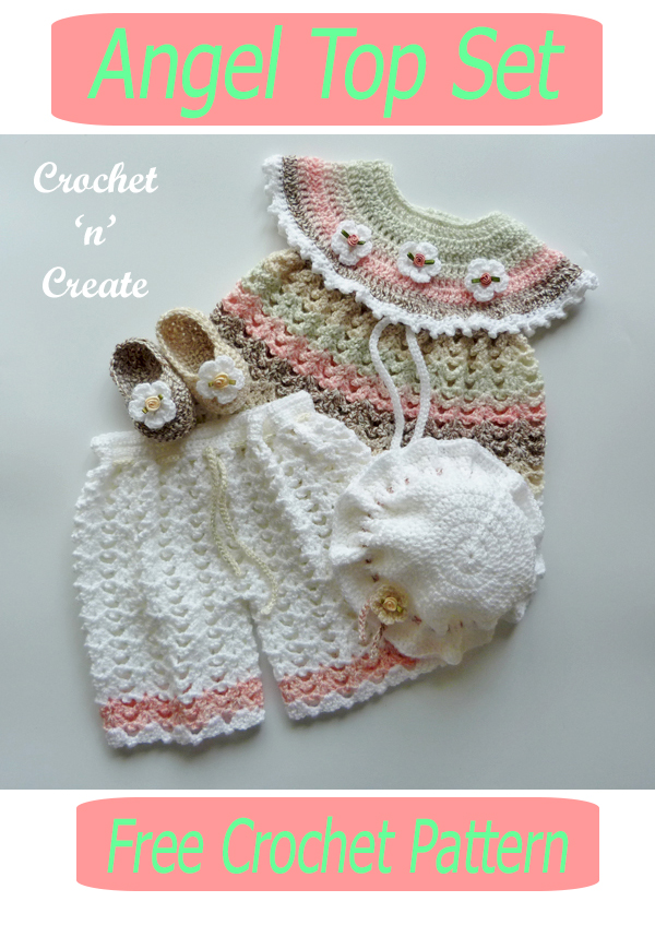 crochet angel top set
