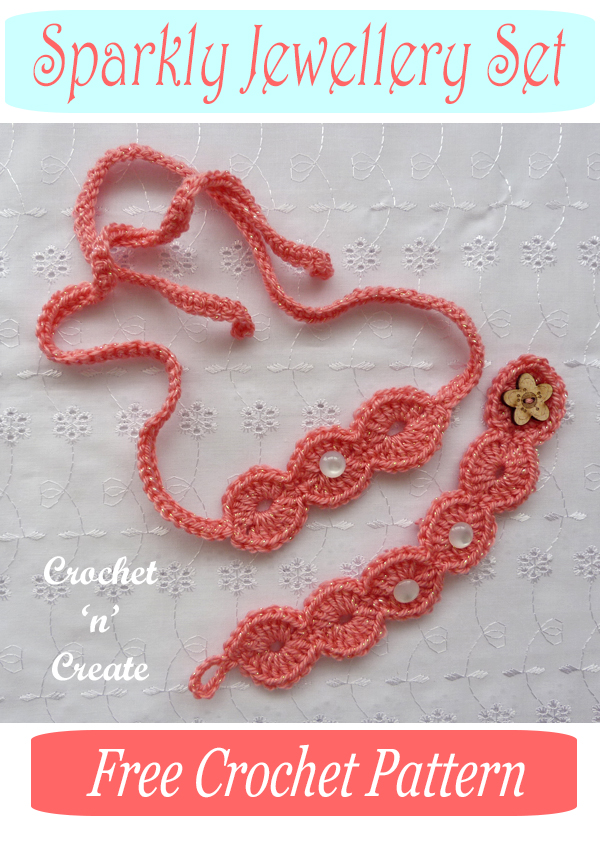 crochet sparkly jewellery set