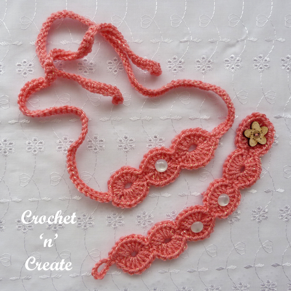 crochet sparkly jewellery set
