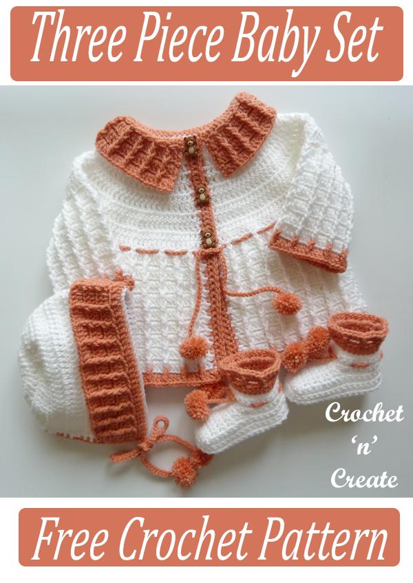 crochet three piece baby set