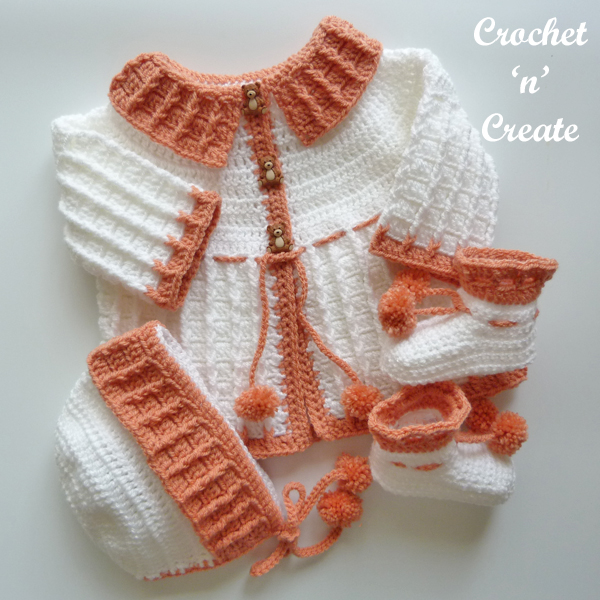 crochet three piece baby set