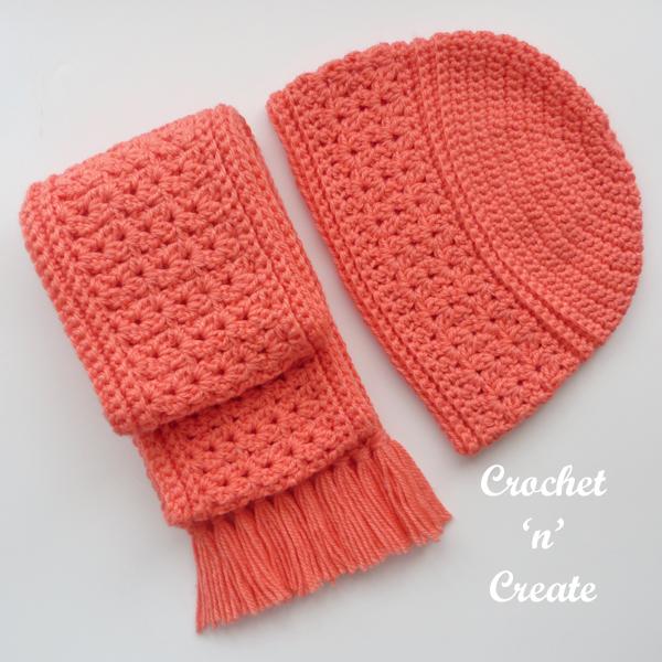 crochet autumn scarf set