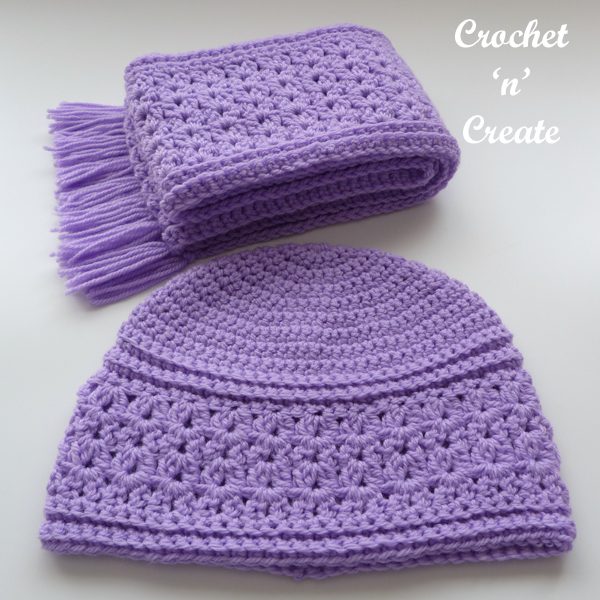 lilac beanie-scarf
