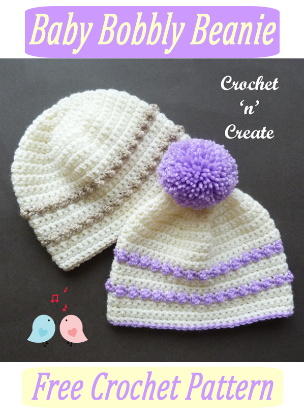 crochet baby bobbly beanie