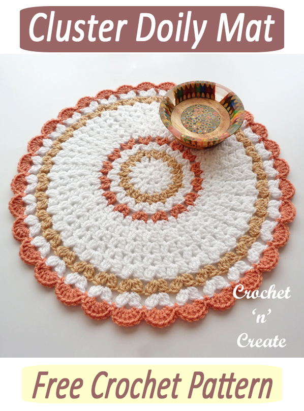 crochet cluster doily mat