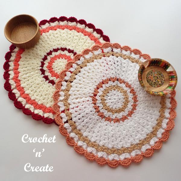 two crochet mats
