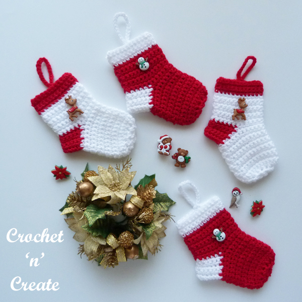 mini crochet christmas stocking