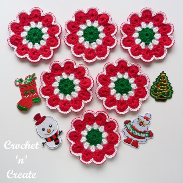 crochet merry jingle coaster