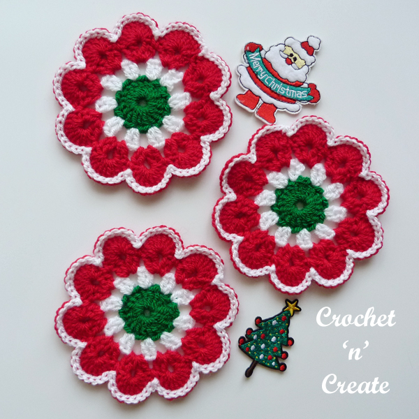 crochet merry jingle coaster