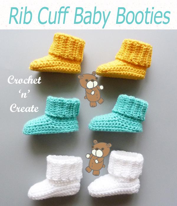 rib cuff baby booties