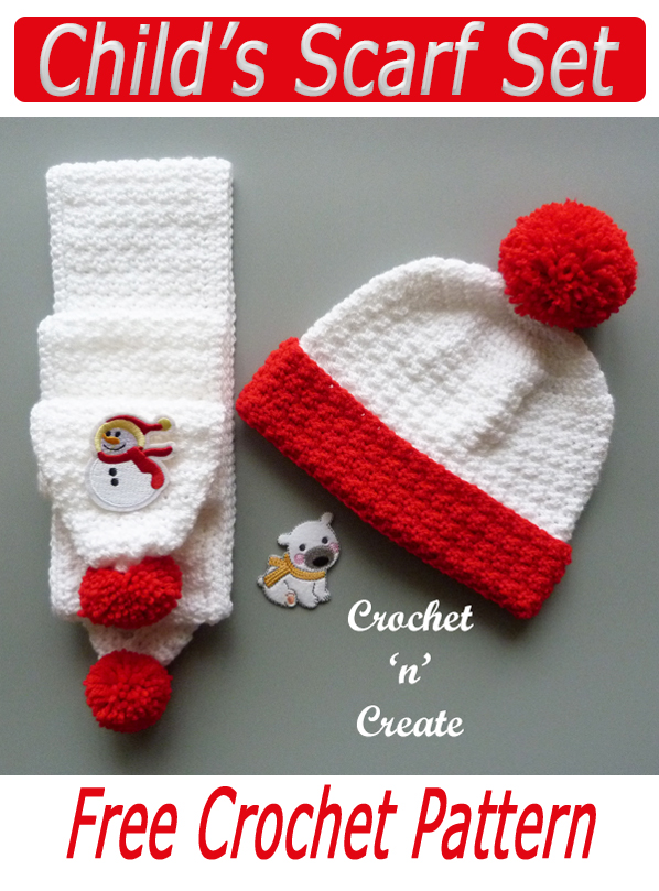 crochet childs scarf set