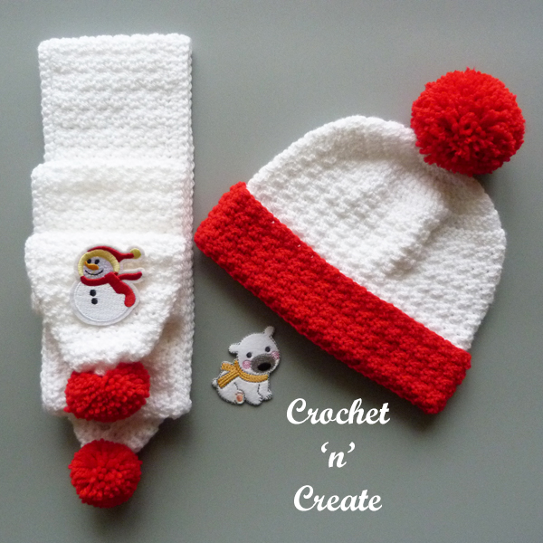 crochet childs scarf set