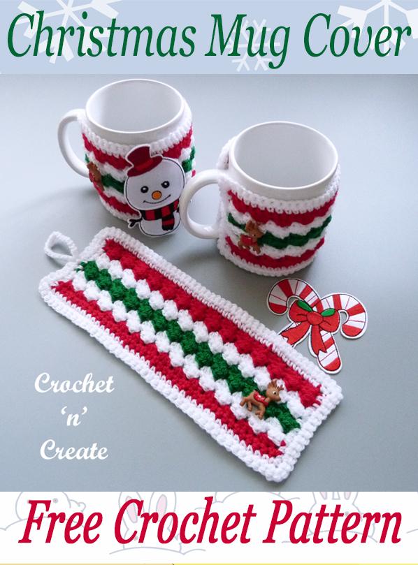 christmas crochet mug cover