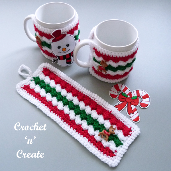 christmas crochet mug cover