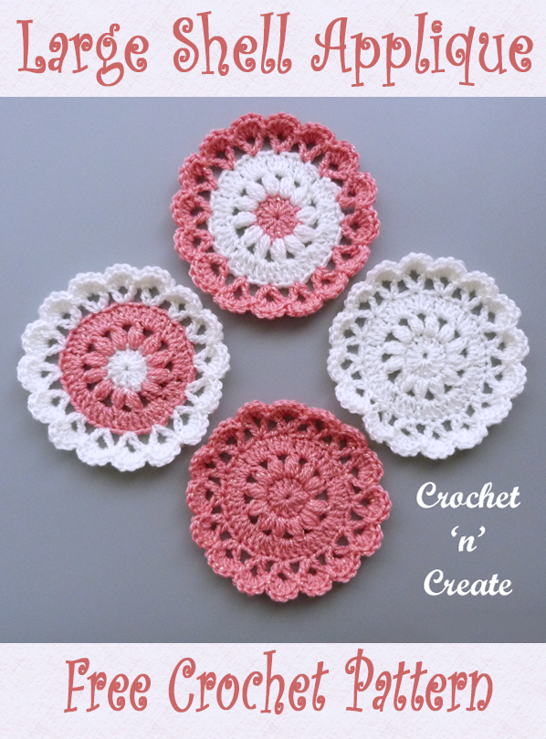 crochet large shell applique