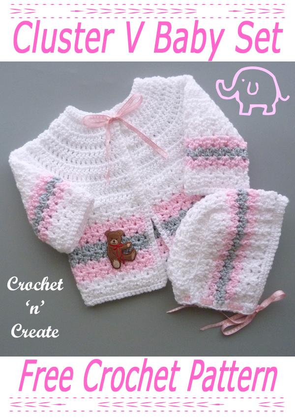cluster v crochet baby set