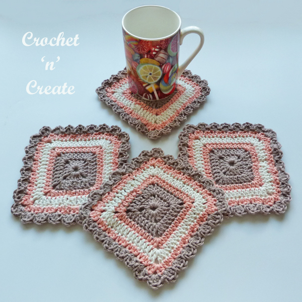 crochet pretty square coaster