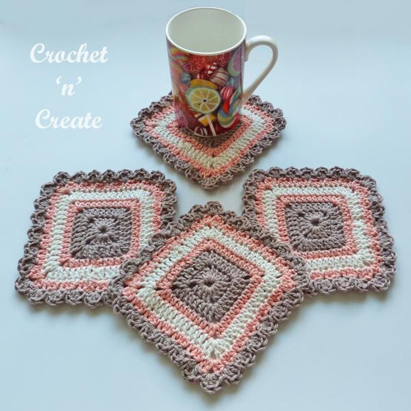 crochet pretty square coaster