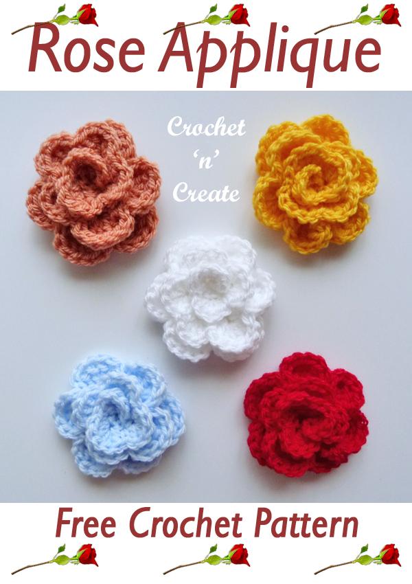 rose applique crochet pattern