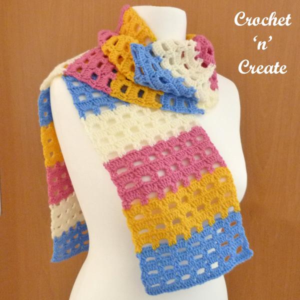 crochet spring box scarf