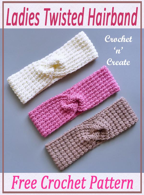 ladies twisted crochet hairband