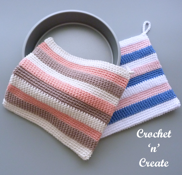crochet striped potholder pattern