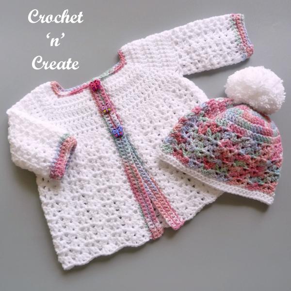 Free baby crochet coat-hat