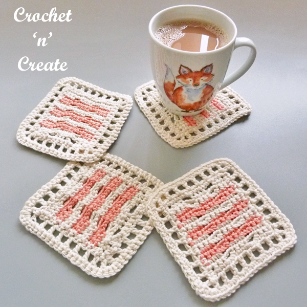 summer kitchen crochet coaster
