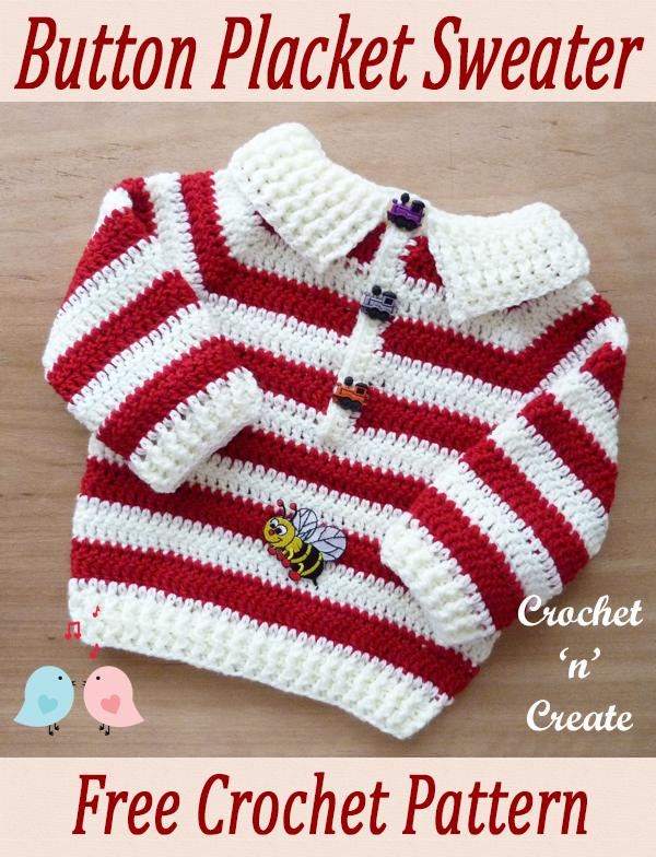 crochet baby placket sweater