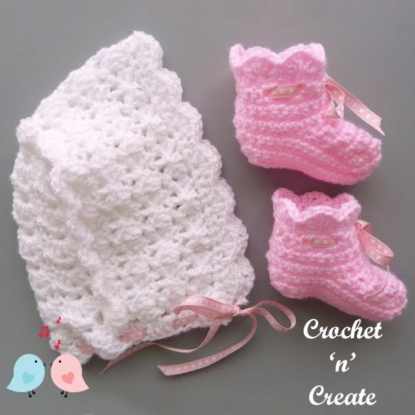 free baby crochet hat-boots pattern